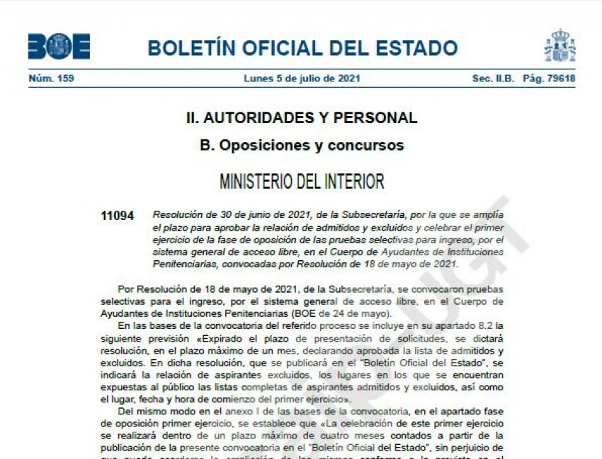 Ampliación plazo admitidos/excluidos Cuerpo Ayudantes II.PP