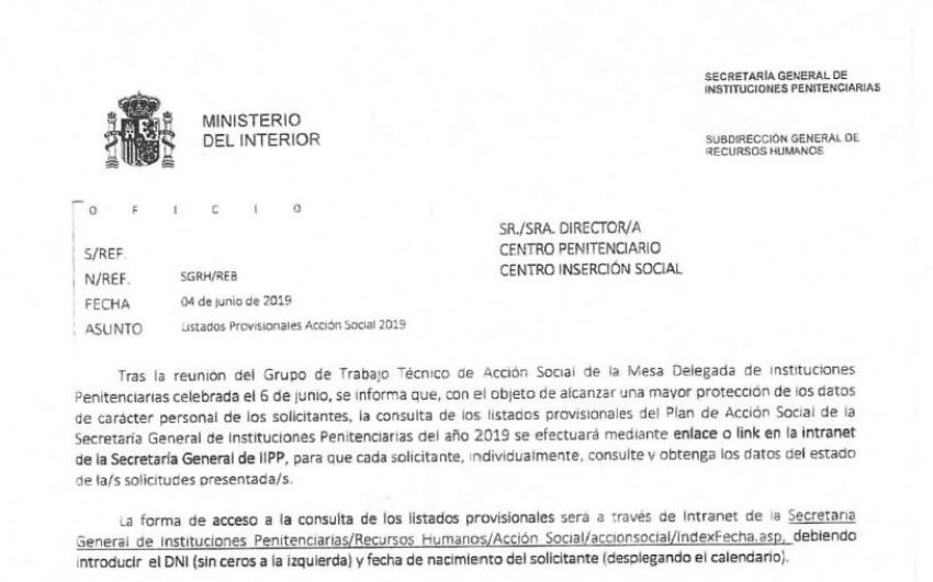 Consulta admitidos-excluidos listados Acción Social