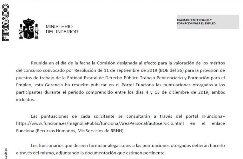 Puntuaciones provisionales concurso traslados TPFE