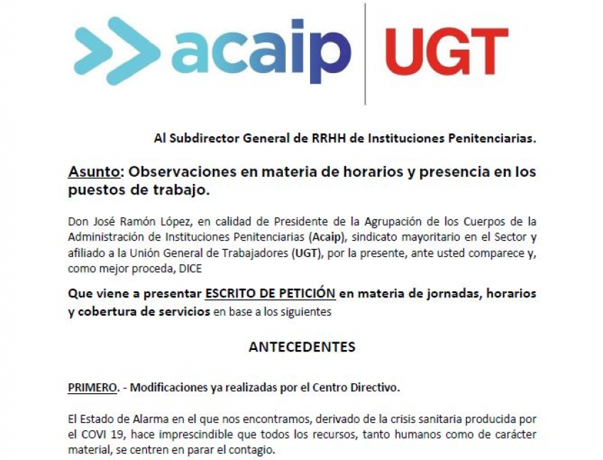 Acaip-Ugt realiza Observaciones en materia de horarios y presencia en los puestos de trabajo.