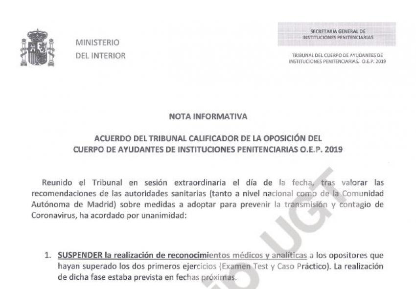 Suspendida prueba médica Ayudantes OEP 2019
