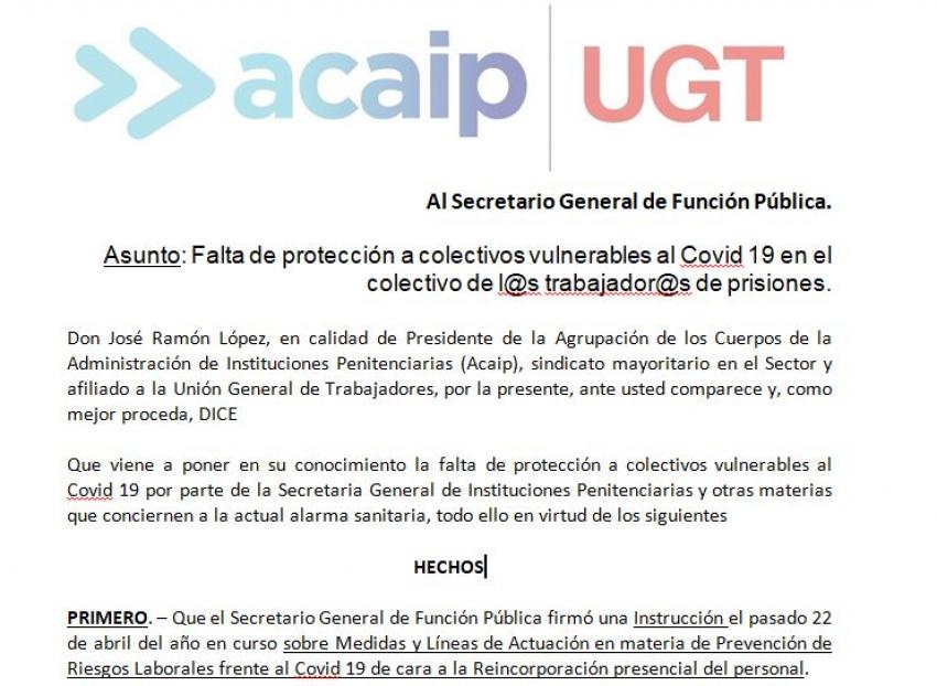 Escrito a Función Pública sobre falta de protección a colectivoS vulnerables en II.PP