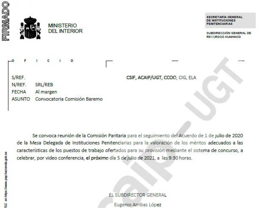 Convocatoria comisión paritaria segumiento acuerdo baremo