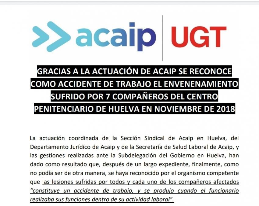 El envenenamiento de Huelva será accidente de trabajo