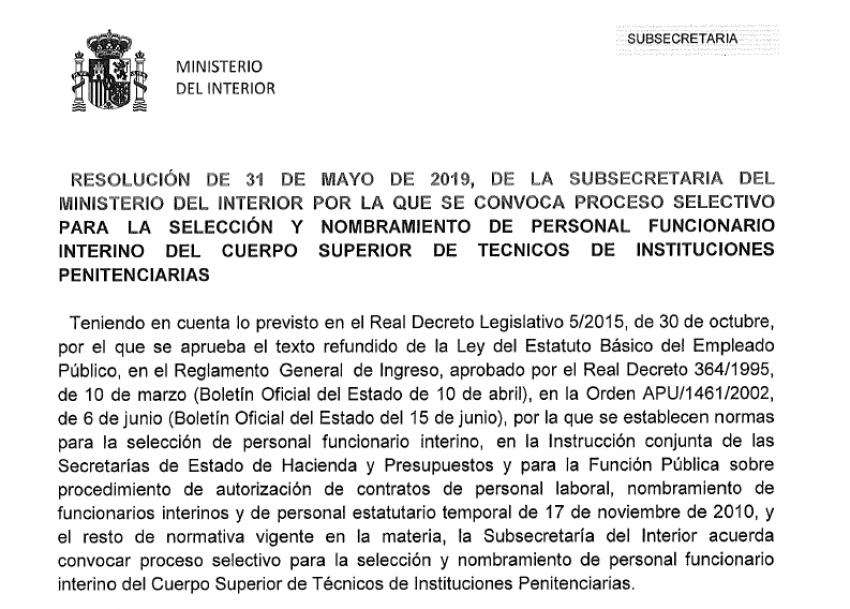 Convocatoria proceso selectivo interios Cuerpo Técnicos II.PP