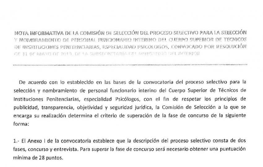 Criterios selección interinos Cuerpo Tecnico (psicólogos)