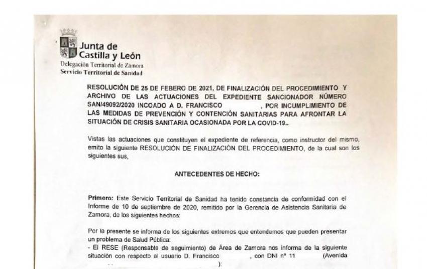 Libre de comisión de infración por cuarentena de Covid