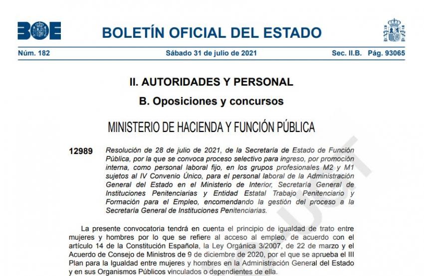 P.Laboral.- Convocatoria proceso selectivo promoción interna
