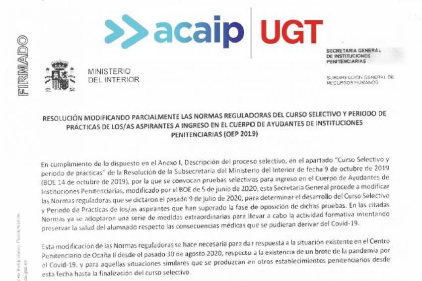 Resolucion modificación normas periodo en practicas OEP 2019