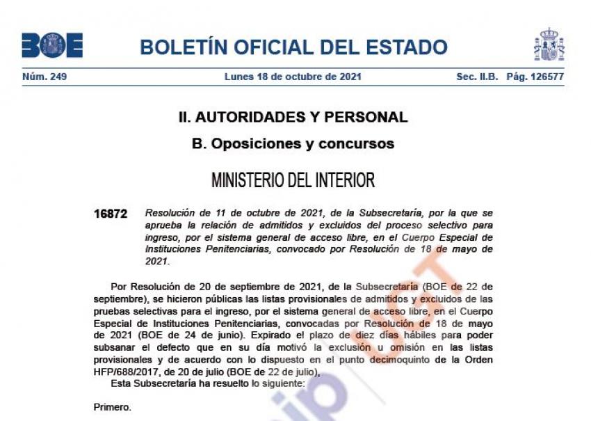 Primer examen acceso promoción interna y libre Cuerpo Especial II.PP