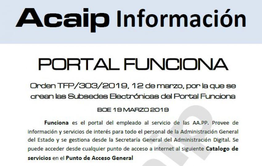 Orden TPF/303/2019  de 12 de marzo por la que se crean las subsedes electrónicas del Portal Funciona.