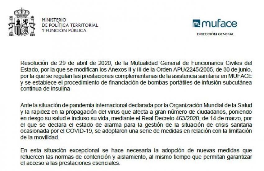 Resolución MUFACE: Mes de mayo inhábil solicitud ayudas.