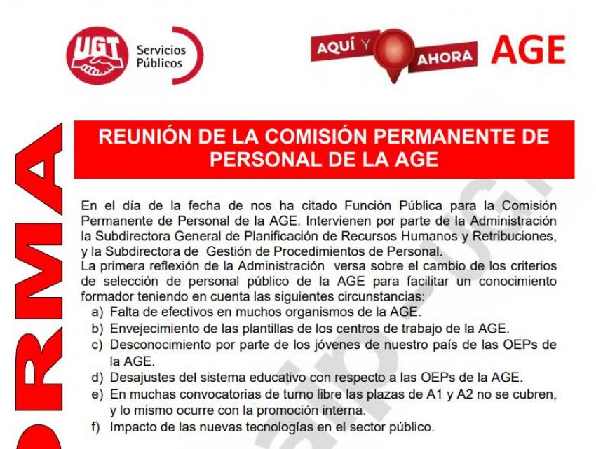 Comunicado reunión comisión permanente AGE