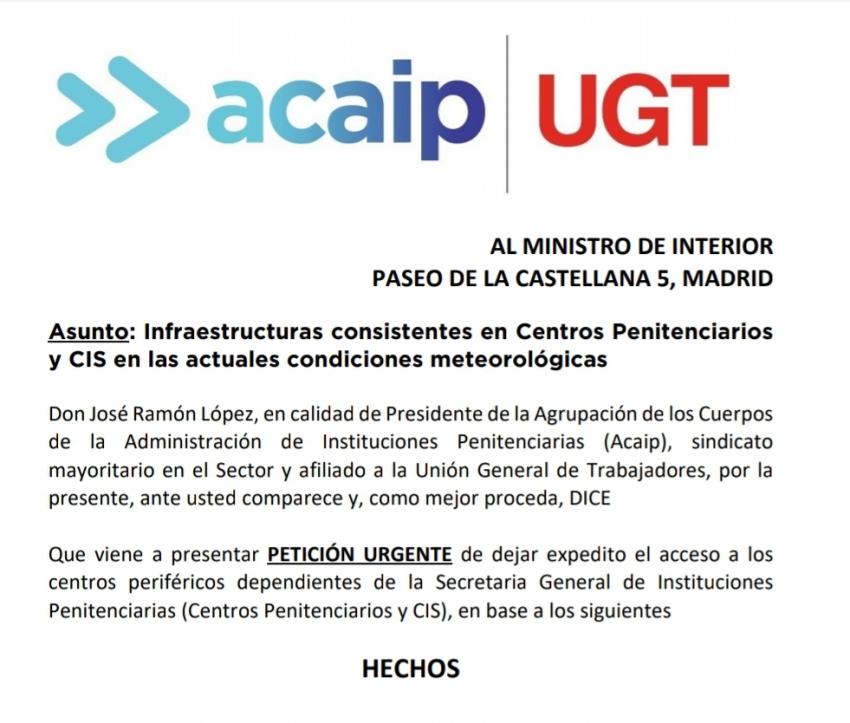 Petición urgente Ministerio Interior acceso a Centros por Filomena