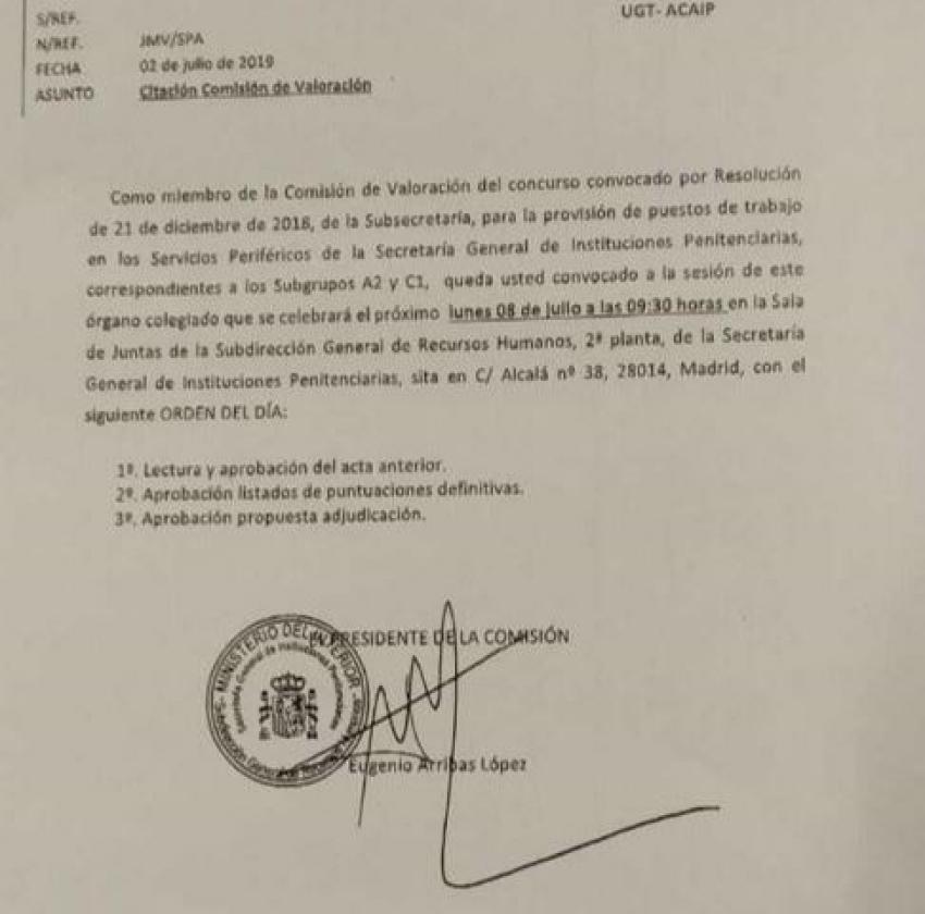 Convocatoria comisión valoración concurso de traslados