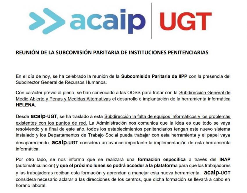 P. laboral.- Comunicado subcomisión paritaria II.PP