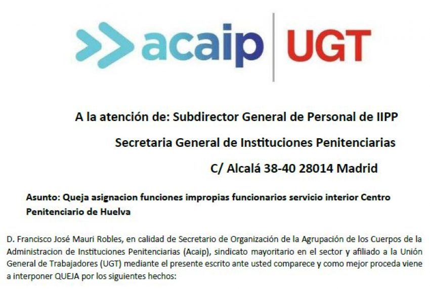 Queja sobre funciones impropias en el C.P de Huelva