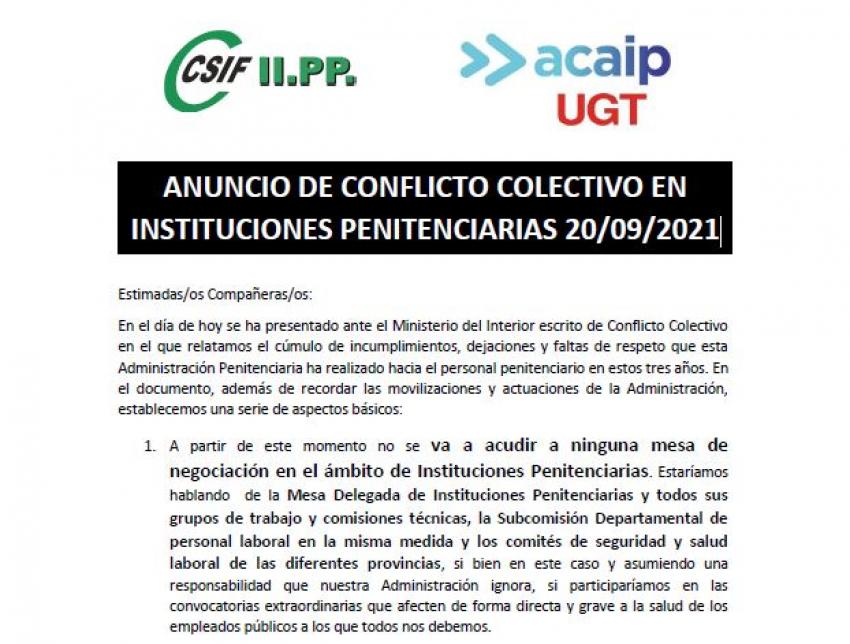 ANUNCIO DE CONFLICTO COLECTIVO EN INSTITUCIONES PENITENCIARIAS (20/09/2021)