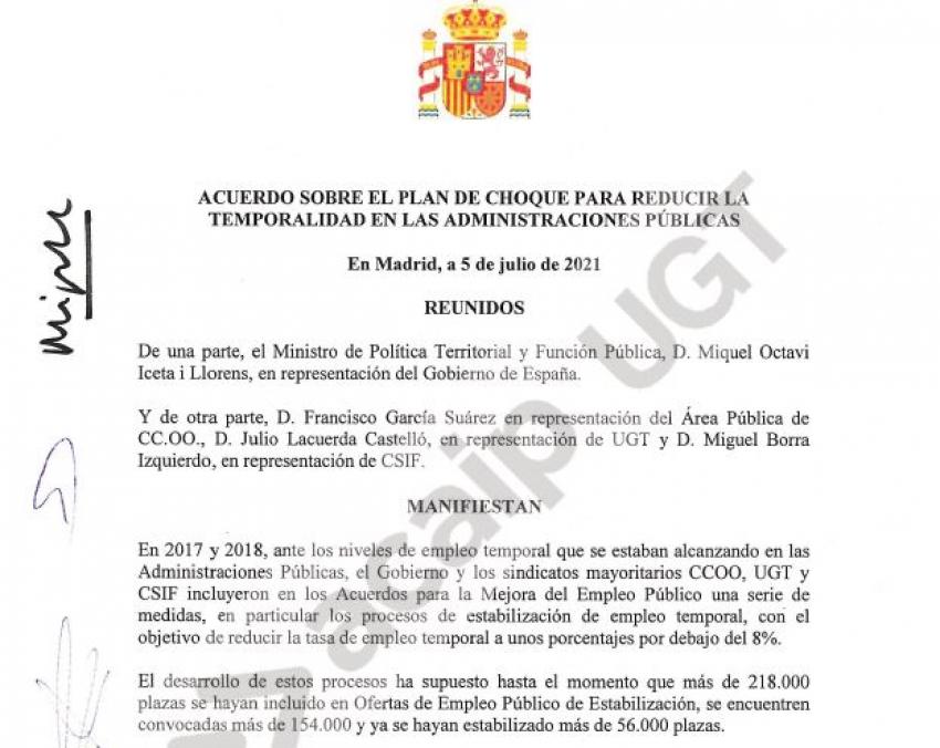 Acuerdo de temporabilidad en las Administraciones Públicas