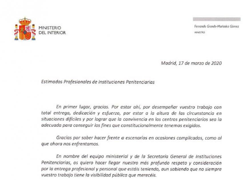 Carta del ministro del interior a los trabajador@s penitenciari@s