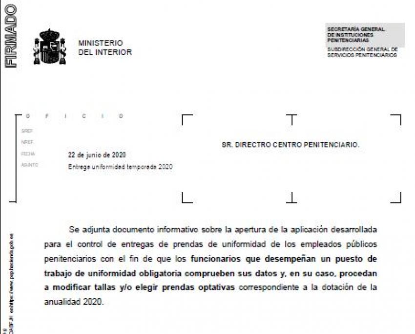 UNIFORMIDAD. MODIFICACIÓN DE TALLAS Y ELECCIÓN DE PRENDAS.