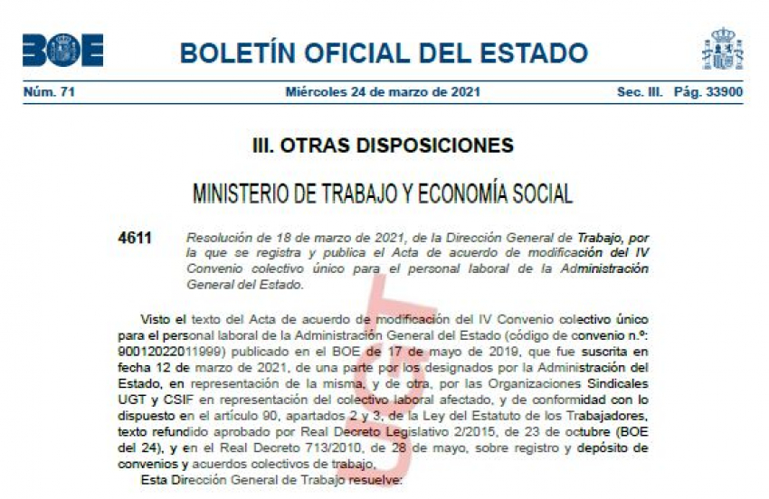 P.Laboral.- Acuerdo encuadramiento IV Convenio