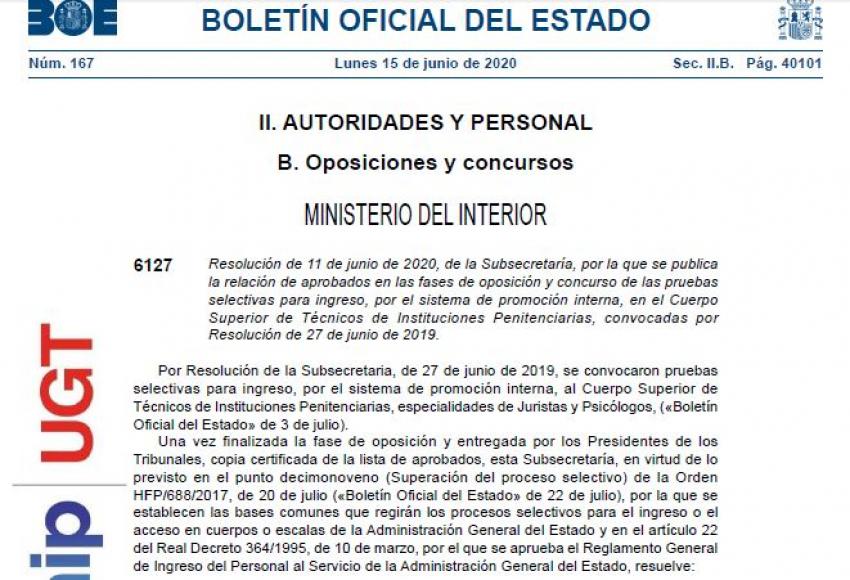 Aprobados oposición promoción interna y libre Cuerpo Técnico II.PP