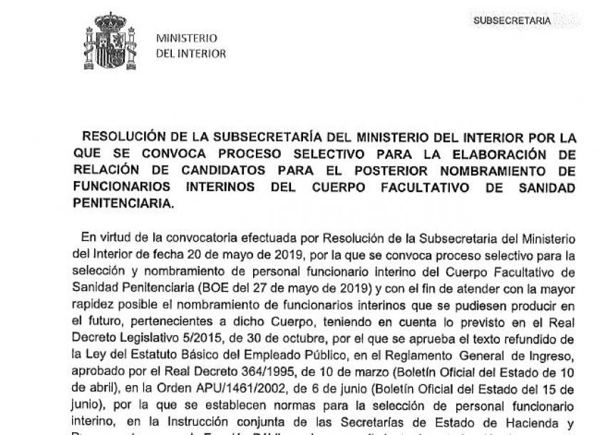 Convocatoria interinos Cuerpo Facultativo II.PP