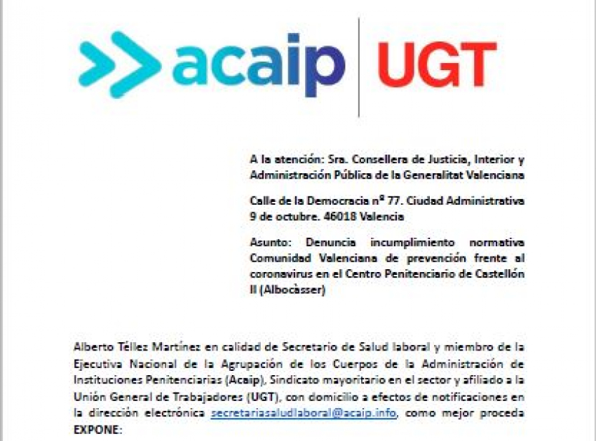 Acaip-Ugt denuncia al director del C.P Albocasser